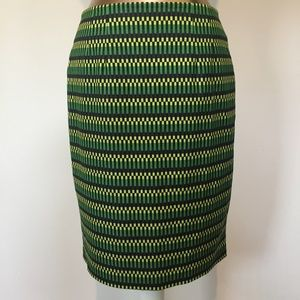 HALOGEN Black Green Tribal Geo Print Pencil Skirt